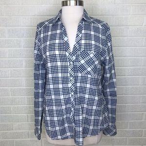 Soft Joie Cydnee Button Up Blouse Top Plaid M Blue